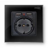 Розетка с заземлением и 2 USB Profi therm Singl Elegant Black